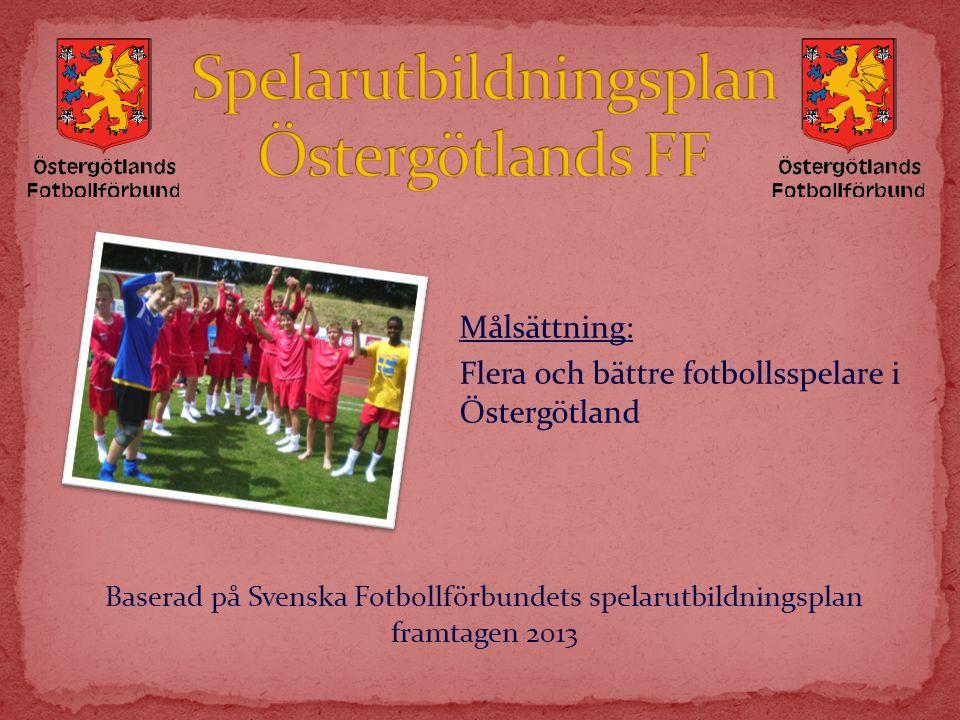 Målsättning: Flera och bättre fotbollsspelare i Östergötland Baserad på Svenska Fotbollförbundets spelarutbildningsplan framtagen 2013