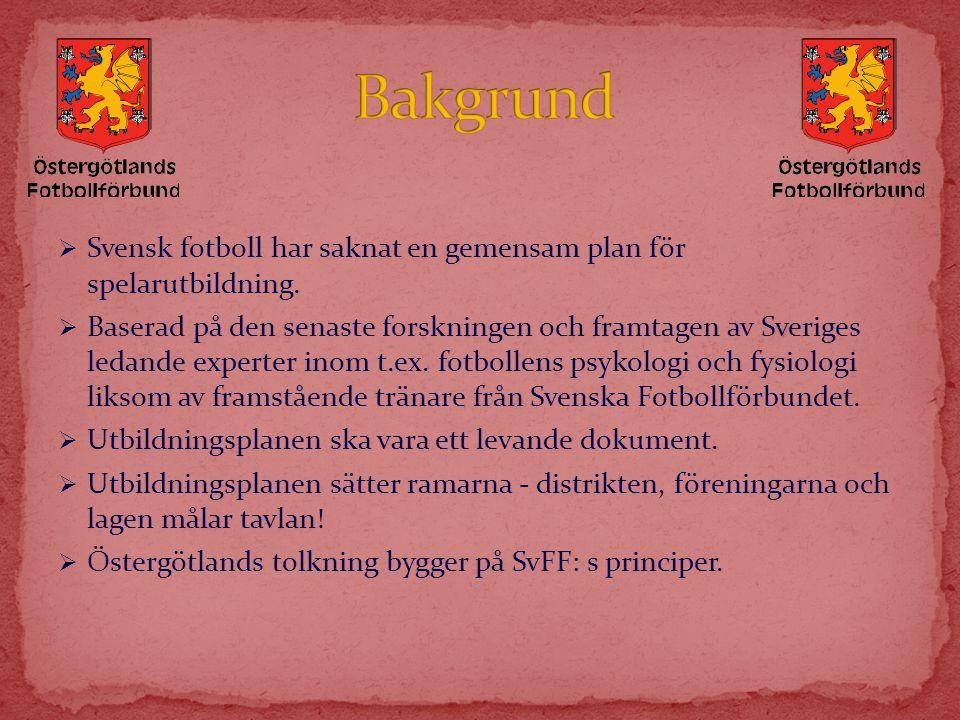  Svensk fotboll har saknat en gemensam plan för spelarutbildning.  Baserad på den senaste forskningen och framtagen av Sveriges ledande experter ino