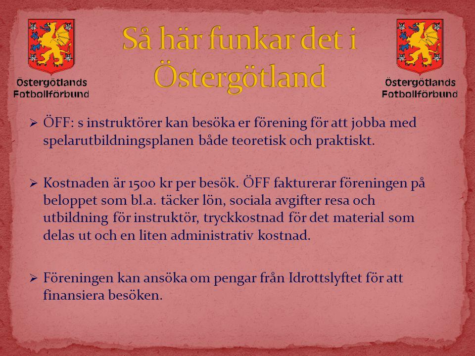  ÖFF: s instruktörer kan besöka er förening för att jobba med spelarutbildningsplanen både teoretisk och praktiskt.  Kostnaden är 1500 kr per besök.