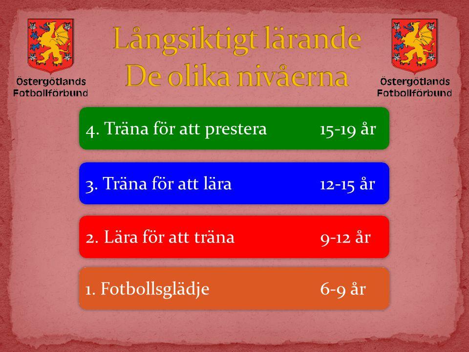 4. Träna för att prestera15-19 år 3. Träna för att lära12-15 år 2. Lära för att träna9-12 år 1. Fotbollsglädje6-9 år