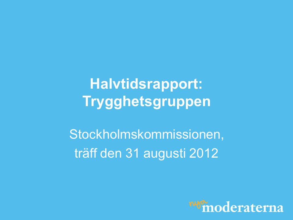 Halvtidsrapport: Trygghetsgruppen Stockholmskommissionen, träff den 31 augusti 2012