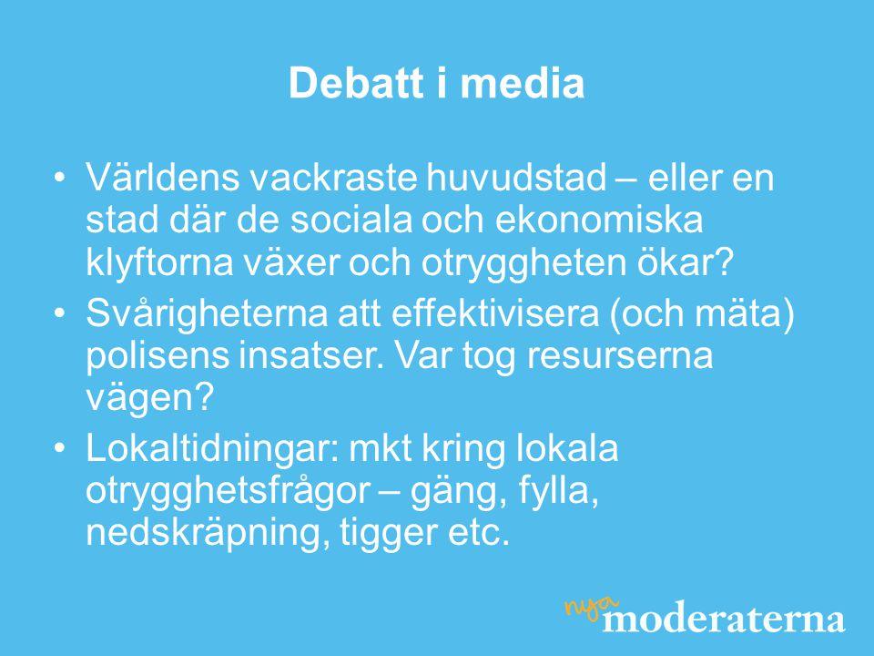 Debatt i media •Världens vackraste huvudstad – eller en stad där de sociala och ekonomiska klyftorna växer och otryggheten ökar? •Svårigheterna att ef