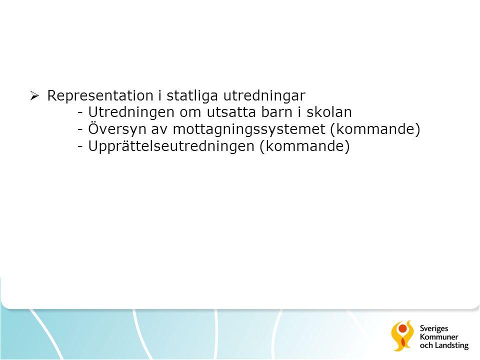  Representation i statliga utredningar - Utredningen om utsatta barn i skolan - Översyn av mottagningssystemet (kommande) - Upprättelseutredningen (k