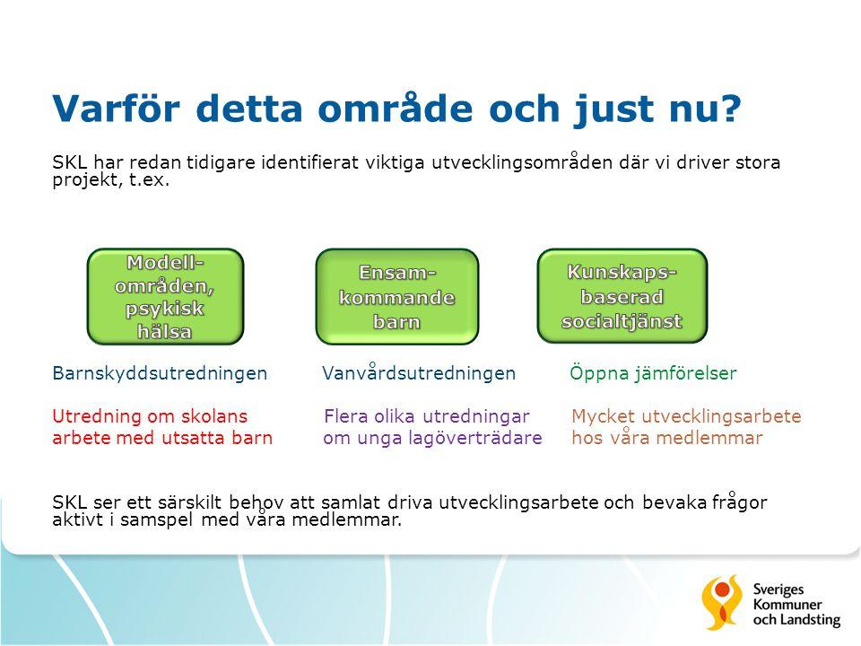 Varför detta område och just nu? SKL har redan tidigare identifierat viktiga utvecklingsområden där vi driver stora projekt, t.ex. Barnskyddsutredning