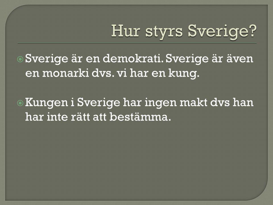  Sverige är en demokrati.Sverige är även en monarki dvs.