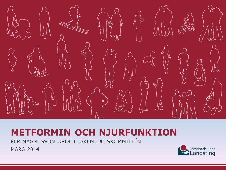 METFORMIN OCH RISKEN FÖR LAKTATACIDOS  Kontraindikation: Njursvikt eller renal dysfunktion (till exempel serumkreatininnivåer >135 mikromol/l hos män och >110 mikromol/l hos kvinnor eller kreatininclearance <60 ml/min) (FASS)  Metformin ska dock undvikas vid nedsatt njurfunktion (eGFR<60 ml/min), vid katabolism och tillstånd med bristande vätskeintag eller ökad vätskeförlust.
