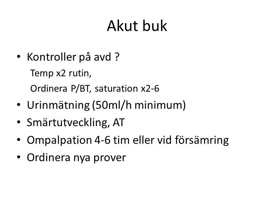 Akut buk • Kontroller på avd ? Temp x2 rutin, Ordinera P/BT, saturation x2-6 • Urinmätning (50ml/h minimum) • Smärtutveckling, AT • Ompalpation 4-6 ti