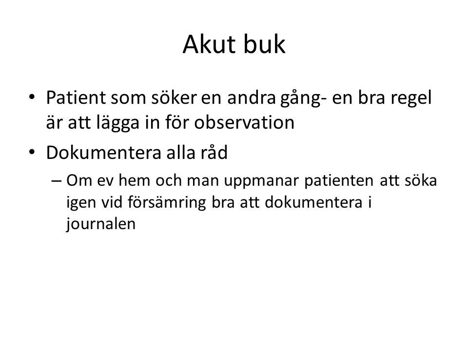 Akut buk • Patient som söker en andra gång- en bra regel är att lägga in för observation • Dokumentera alla råd – Om ev hem och man uppmanar patienten