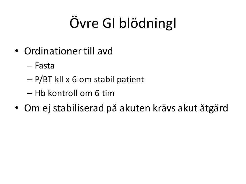 Övre GI blödningI • Ordinationer till avd – Fasta – P/BT kll x 6 om stabil patient – Hb kontroll om 6 tim • Om ej stabiliserad på akuten krävs akut åt