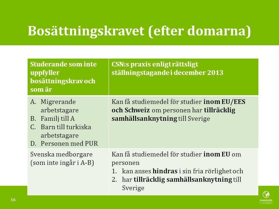 Bosättningskravet (efter domarna) CSN:s praxis enligt rättsligt ställningstagande i december 2013 Kan få studiemedel för studier inom EU/EES och Schweiz om personen har tillräcklig samhällsanknytning till Sverige Studerande som inte uppfyller bosättningskrav och som är A.Migrerande arbetstagare B.Familj till A C.Barn till turkiska arbetstagare D.Personen med PUR E.Personer med PUR Svenska medborgare (som inte ingår i A-B) Kan få studiemedel för studier inom EU om personen 1.kan anses hindras i sin fria rörlighet och 2.har tillräcklig samhällsanknytning till Sverige 16