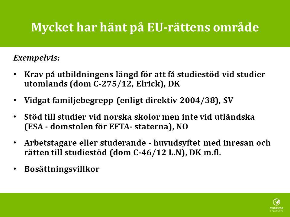 Mycket har hänt på EU-rättens område Exempelvis: • Krav på utbildningens längd för att få studiestöd vid studier utomlands (dom C-275/12, Elrick), DK • Vidgat familjebegrepp (enligt direktiv 2004/38), SV • Stöd till studier vid norska skolor men inte vid utländska (ESA - domstolen för EFTA- staterna), NO • Arbetstagare eller studerande - huvudsyftet med inresan och rätten till studiestöd (dom C-46/12 L.N), DK m.fl.