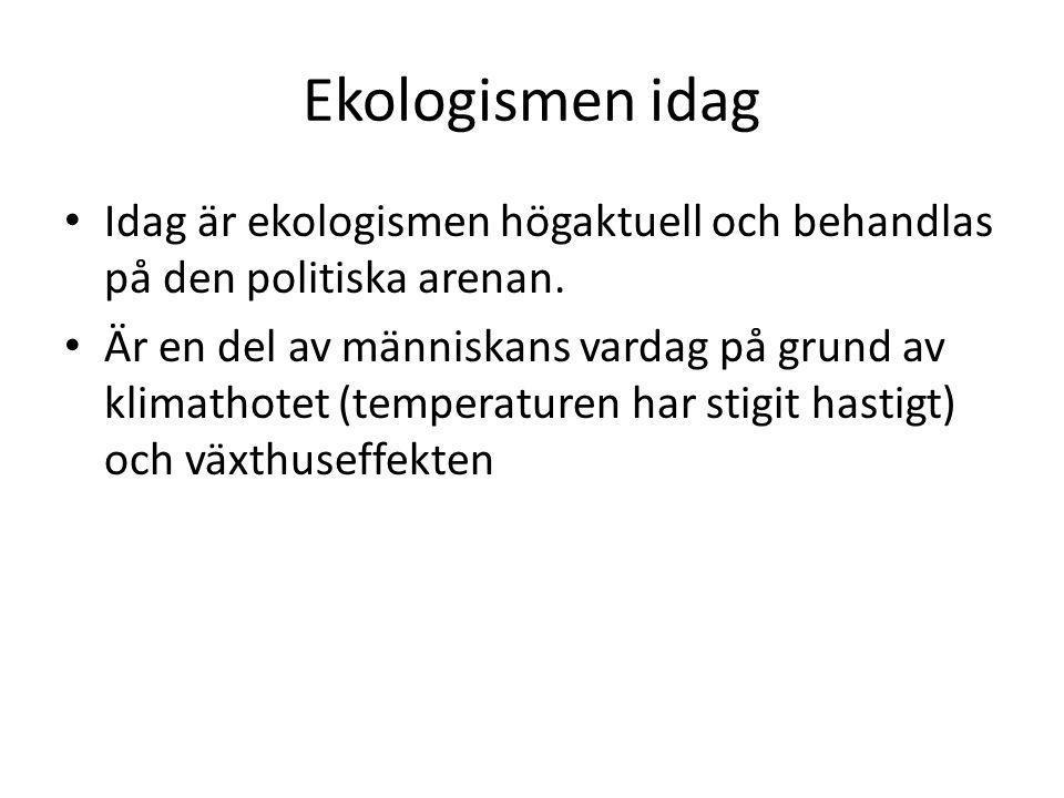 Ekologismen idag • Idag är ekologismen högaktuell och behandlas på den politiska arenan. • Är en del av människans vardag på grund av klimathotet (tem