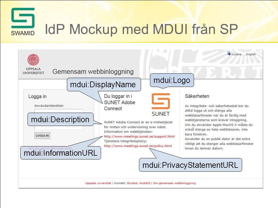 IdP Mockup med MDUI från SP mdui:Logo mdui:DisplayName mdui:Description mdui:InformationURL mdui:PrivacyStatementURL