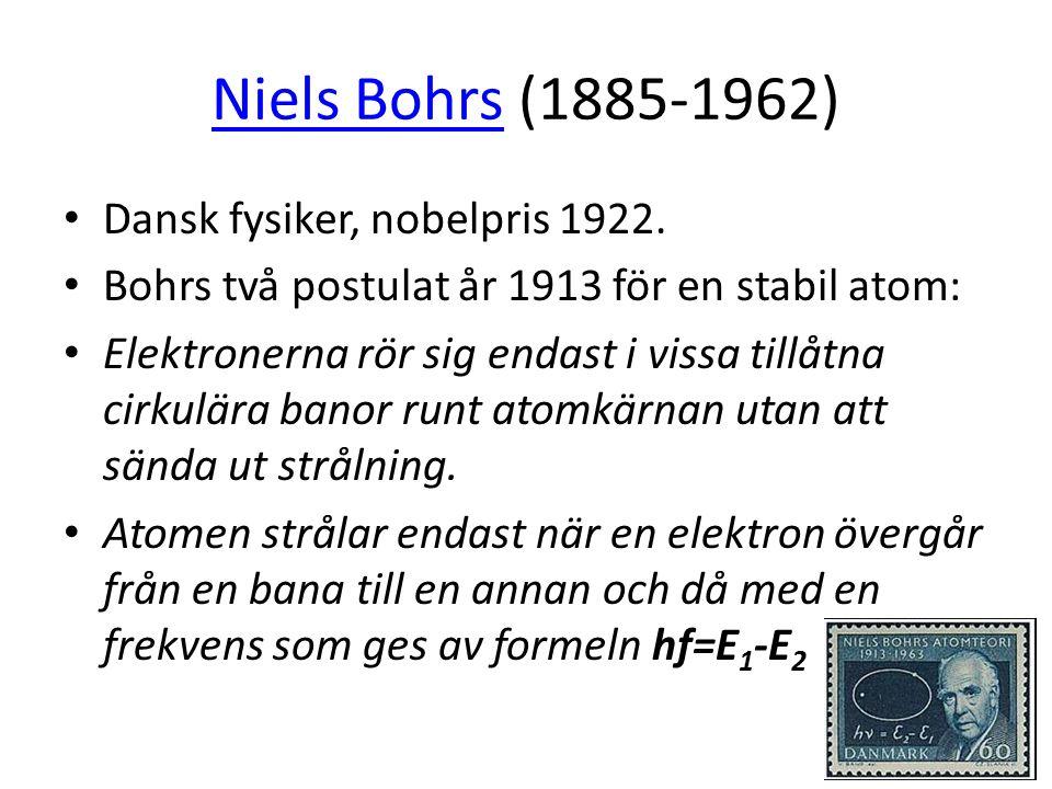 Niels BohrsNiels Bohrs (1885-1962) • Dansk fysiker, nobelpris 1922. • Bohrs två postulat år 1913 för en stabil atom: • Elektronerna rör sig endast i v