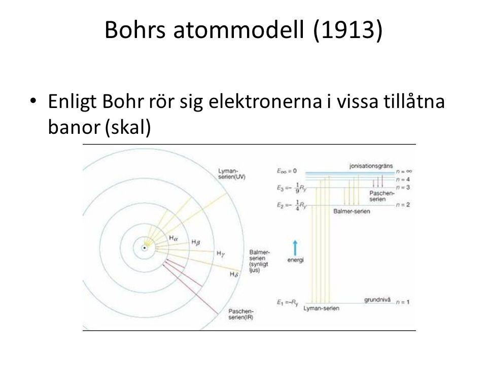 Bohrs atommodell (1913) • Enligt Bohr rör sig elektronerna i vissa tillåtna banor (skal)