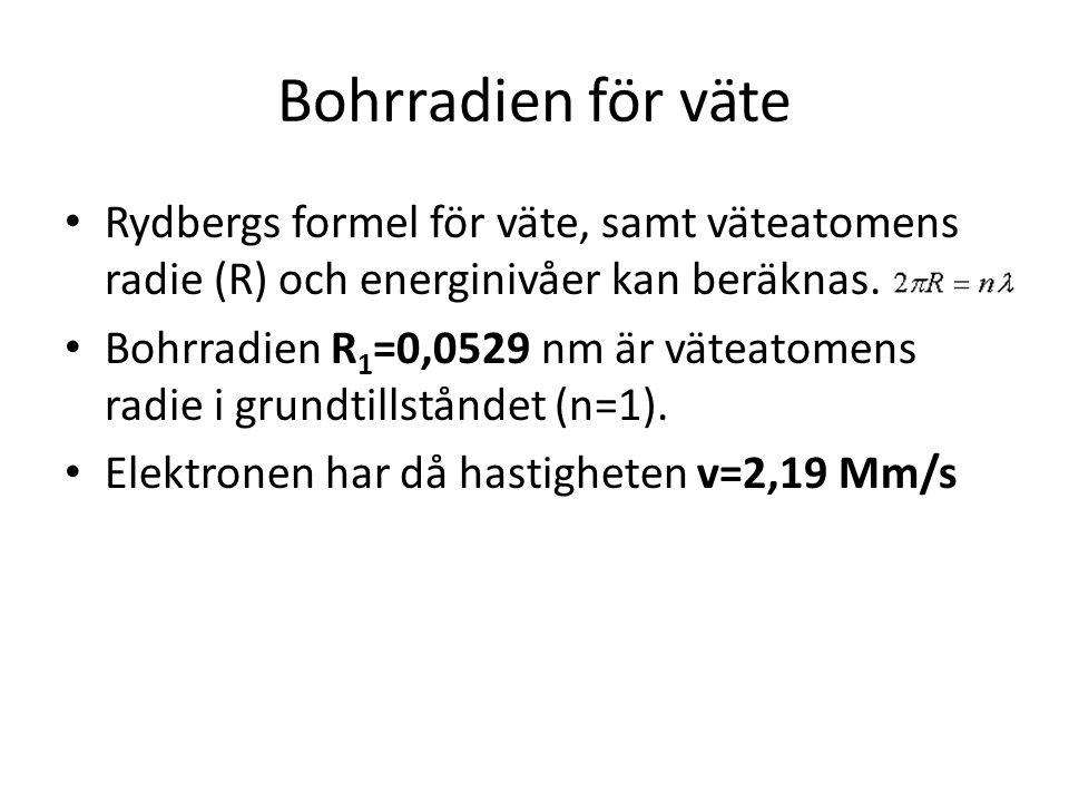 Bohrradien för väte • Rydbergs formel för väte, samt väteatomens radie (R) och energinivåer kan beräknas. • Bohrradien R 1 =0,0529 nm är väteatomens r