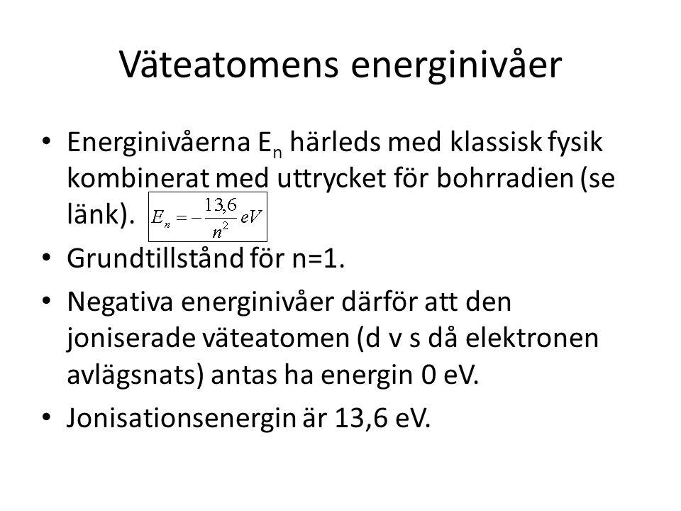 Väteatomens energinivåer • Energinivåerna E n härleds med klassisk fysik kombinerat med uttrycket för bohrradien (se länk). • Grundtillstånd för n=1.
