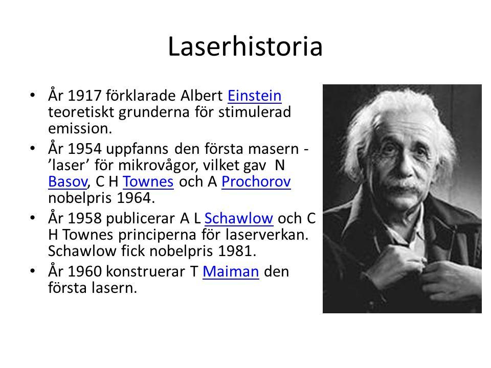 Laserhistoria • År 1917 förklarade Albert Einstein teoretiskt grunderna för stimulerad emission.Einstein • År 1954 uppfanns den första masern - 'laser' för mikrovågor, vilket gav N Basov, C H Townes och A Prochorov nobelpris 1964.