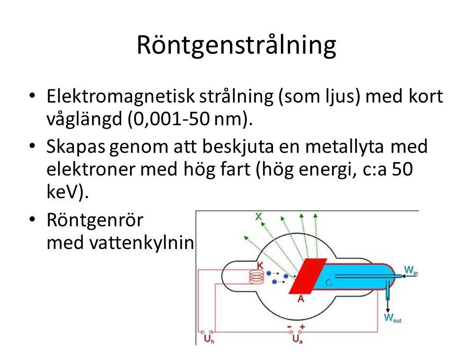 Röntgenstrålning • Elektromagnetisk strålning (som ljus) med kort våglängd (0,001-50 nm). • Skapas genom att beskjuta en metallyta med elektroner med