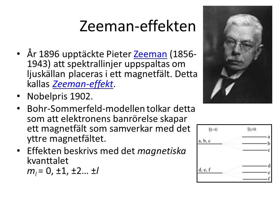 Zeeman-effekten • År 1896 upptäckte Pieter Zeeman (1856- 1943) att spektrallinjer uppspaltas om ljuskällan placeras i ett magnetfält. Detta kallas Zee