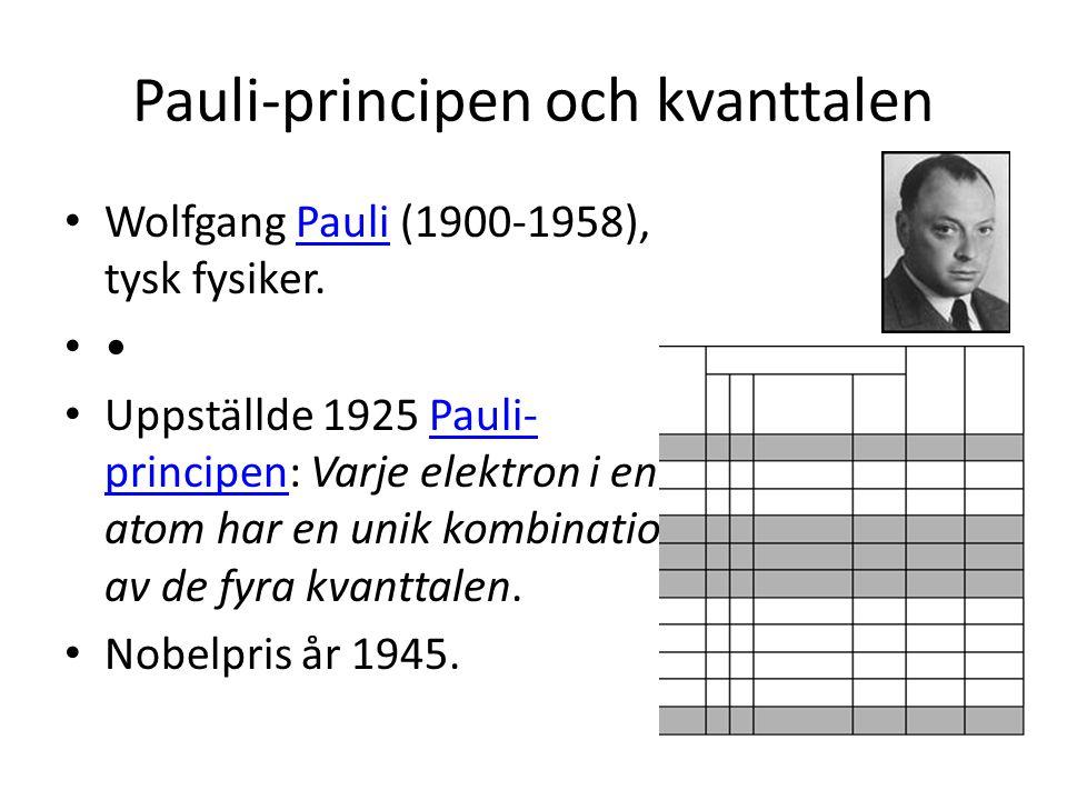 Pauli-principen och kvanttalen • Wolfgang Pauli (1900-1958), tysk fysiker.Pauli• • Uppställde 1925 Pauli- principen: Varje elektron i en atom har en unik kombination av de fyra kvanttalen.Pauli- principen • Nobelpris år 1945.
