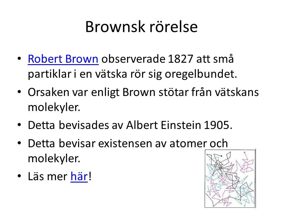 Brownsk rörelse • Robert Brown observerade 1827 att små partiklar i en vätska rör sig oregelbundet. Robert Brown • Orsaken var enligt Brown stötar frå