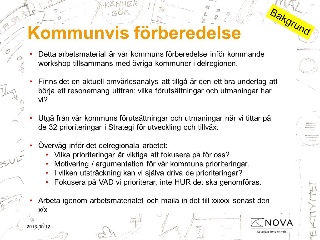 2013-09-12 Kommunvis förberedelse •Detta arbetsmaterial är vår kommuns förberedelse inför kommande workshop tillsammans med övriga kommuner i delregionen.