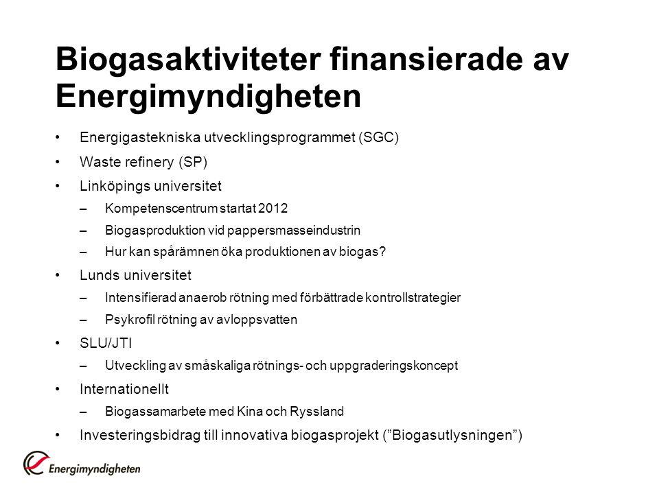 Biogasaktiviteter finansierade av Energimyndigheten •Energigastekniska utvecklingsprogrammet (SGC) •Waste refinery (SP) •Linköpings universitet –Kompetenscentrum startat 2012 –Biogasproduktion vid pappersmasseindustrin –Hur kan spårämnen öka produktionen av biogas.