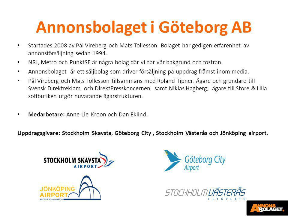 Annonsbolaget i Göteborg AB • Startades 2008 av Pål Vireberg och Mats Tollesson. Bolaget har gedigen erfarenhet av annonsförsäljning sedan 1994. • NRJ