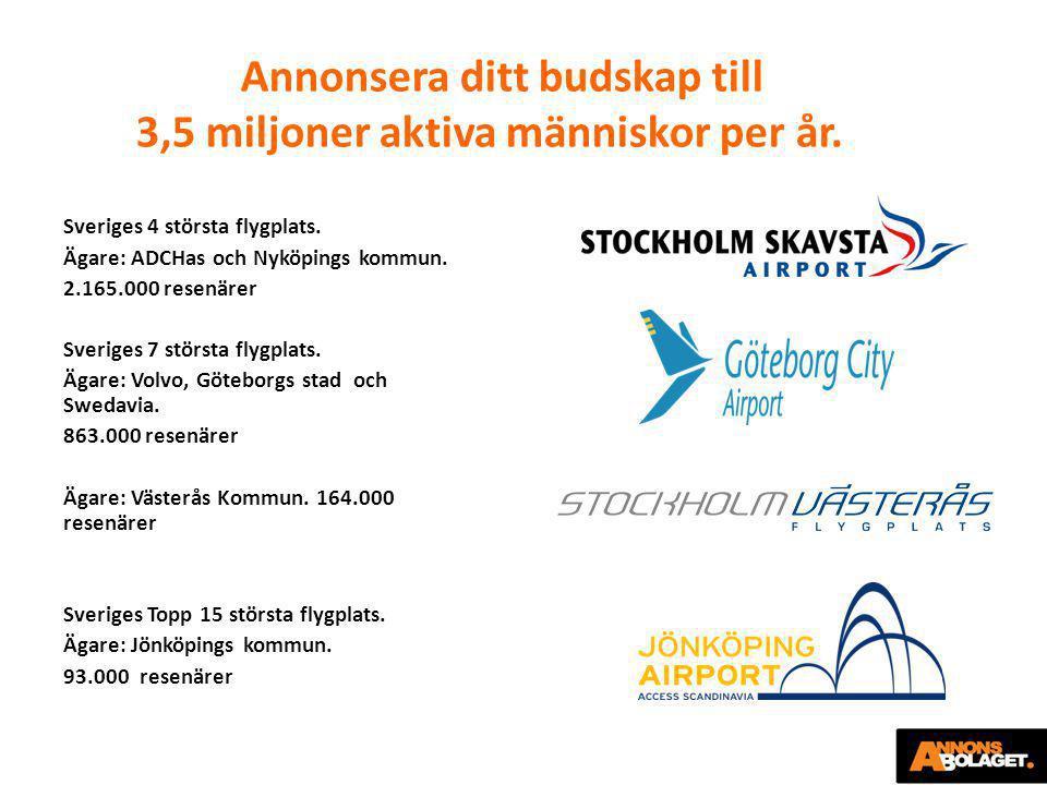 Annonsera ditt budskap till 3,5 miljoner aktiva människor per år. Sveriges 4 största flygplats. Ägare: ADCHas och Nyköpings kommun. 2.165.000 resenäre