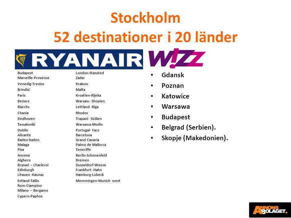 Stockholm 52 destinationer i 20 länder BudapestLondon-Stansted Marseille-ProvenceZadar Venedig-TrevisoKrakow BrindisiMalta ParisKroatien-Rijeka Bezier