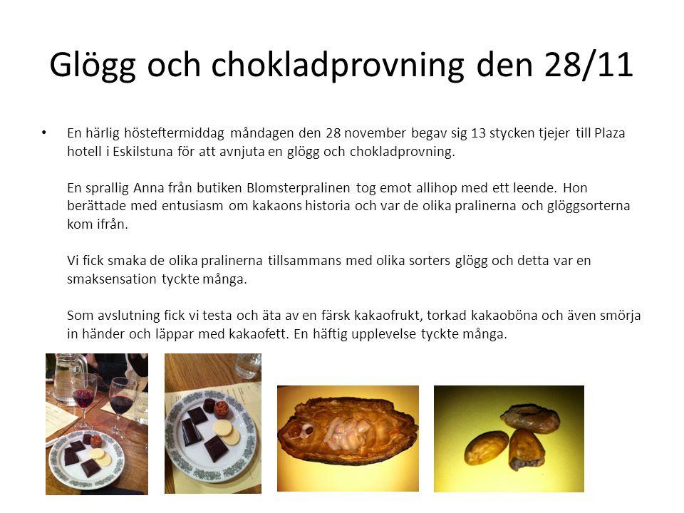 Glögg och chokladprovning den 28/11 • En härlig hösteftermiddag måndagen den 28 november begav sig 13 stycken tjejer till Plaza hotell i Eskilstuna fö