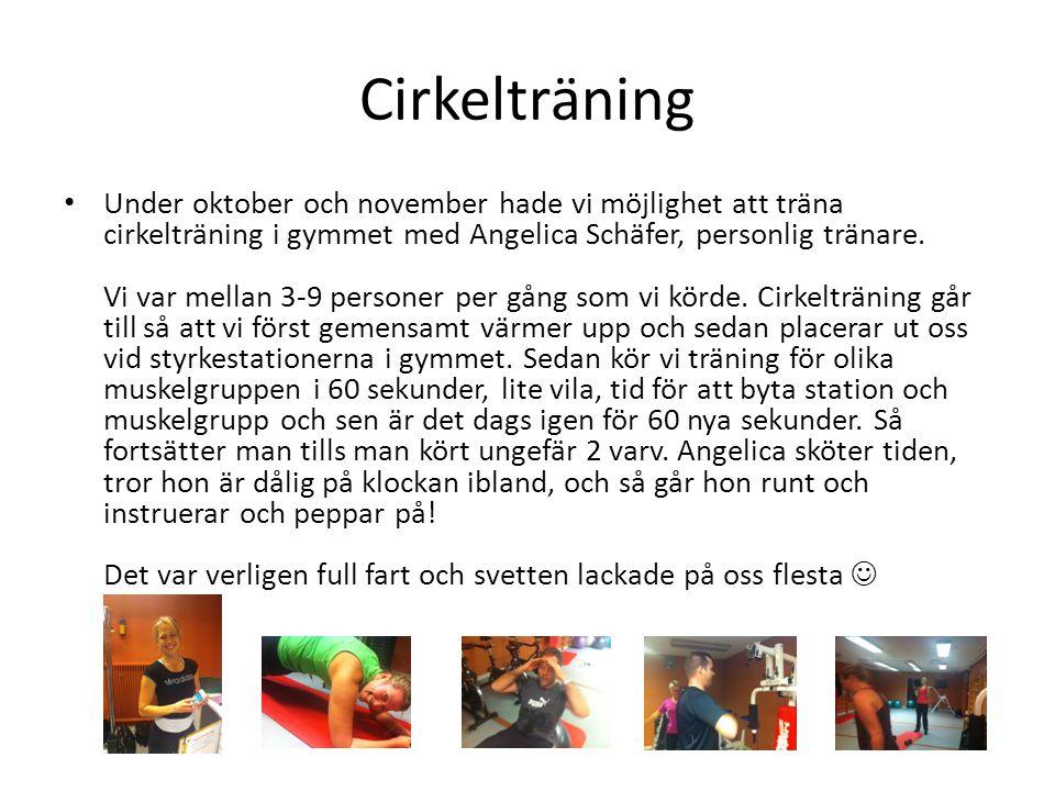 Cirkelträning • Under oktober och november hade vi möjlighet att träna cirkelträning i gymmet med Angelica Schäfer, personlig tränare. Vi var mellan 3
