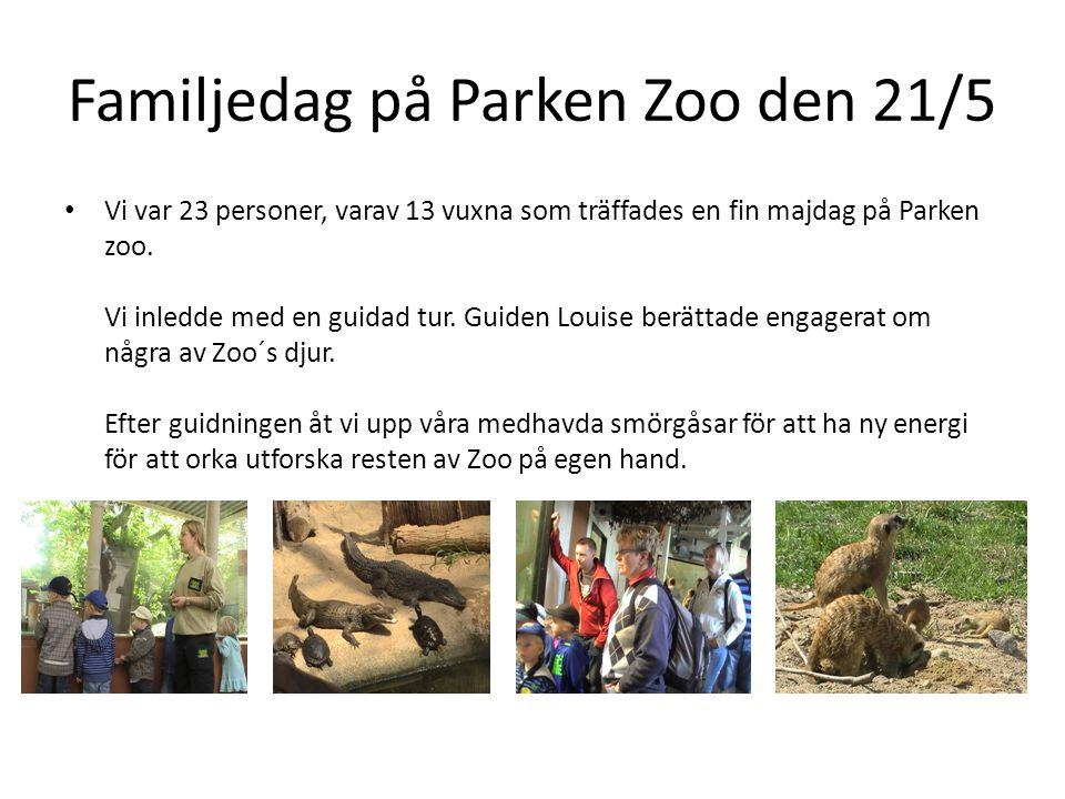 Familjedag på Parken Zoo den 21/5 • Vi var 23 personer, varav 13 vuxna som träffades en fin majdag på Parken zoo. Vi inledde med en guidad tur. Guiden