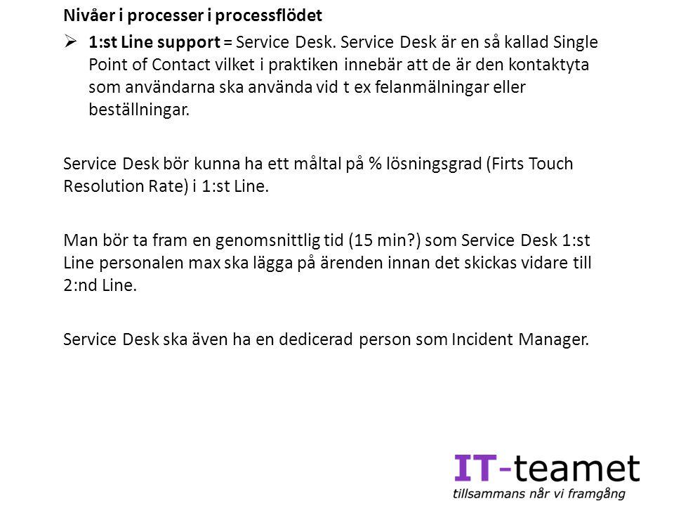 Nivåer i processer i processflödet  1:st Line support = Service Desk. Service Desk är en så kallad Single Point of Contact vilket i praktiken innebär