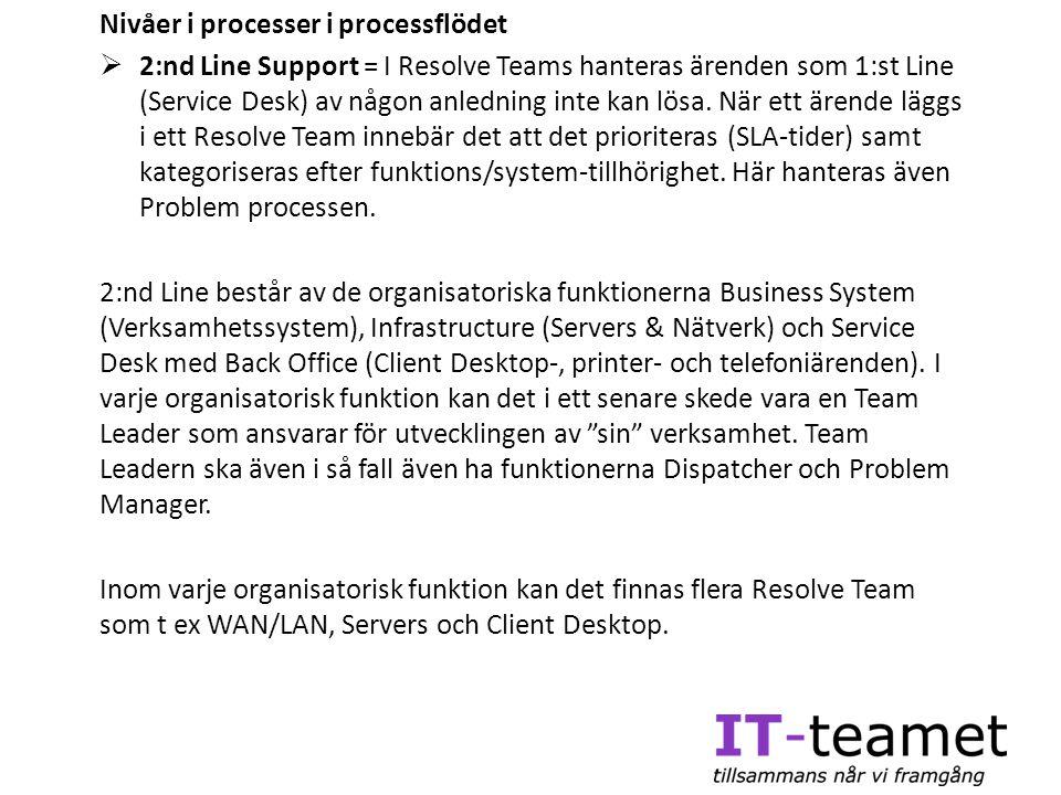 Nivåer i processer i processflödet  2:nd Line Support = I Resolve Teams hanteras ärenden som 1:st Line (Service Desk) av någon anledning inte kan lös