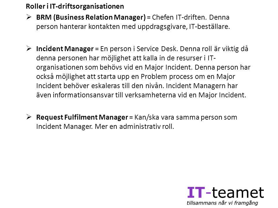 Roller i IT-driftsorganisationen  BRM (Business Relation Manager) = Chefen IT-driften. Denna person hanterar kontakten med uppdragsgivare, IT-beställ