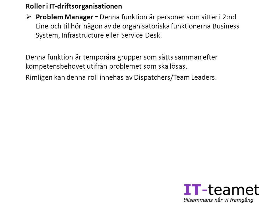 Roller i IT-driftsorganisationen  Problem Manager = Denna funktion är personer som sitter i 2:nd Line och tillhör någon av de organisatoriska funktio