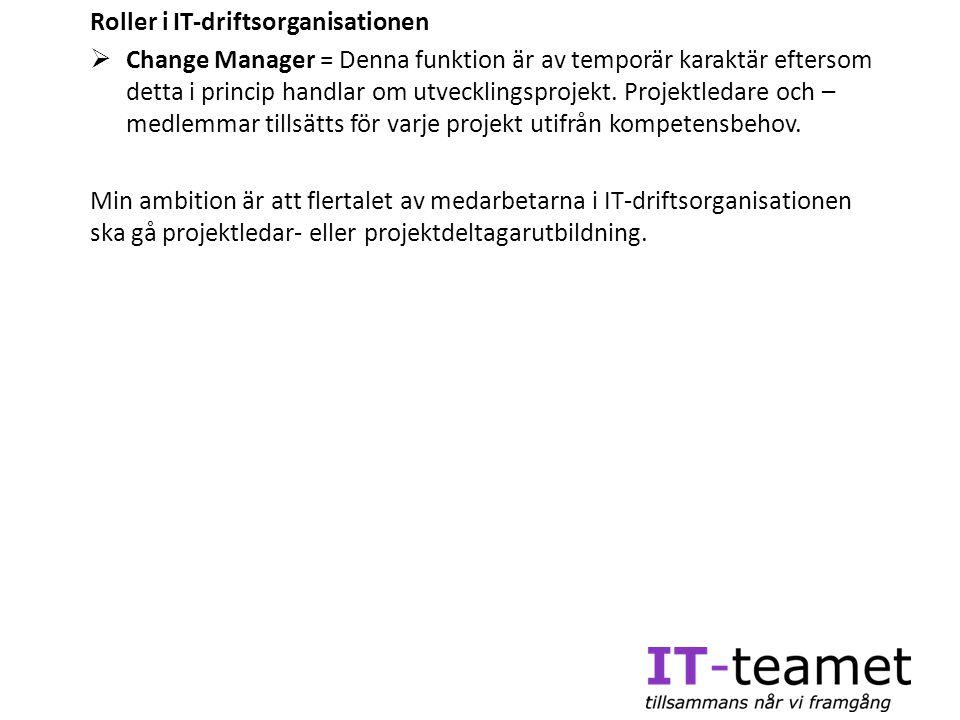 Roller i IT-driftsorganisationen  Change Manager = Denna funktion är av temporär karaktär eftersom detta i princip handlar om utvecklingsprojekt. Pro