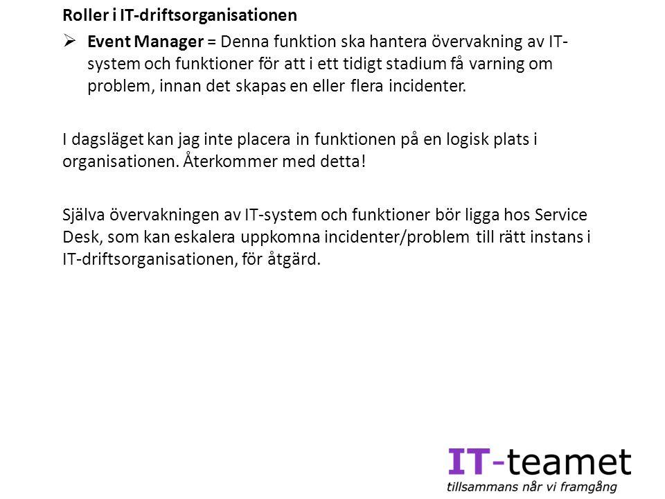 Roller i IT-driftsorganisationen  Event Manager = Denna funktion ska hantera övervakning av IT- system och funktioner för att i ett tidigt stadium få