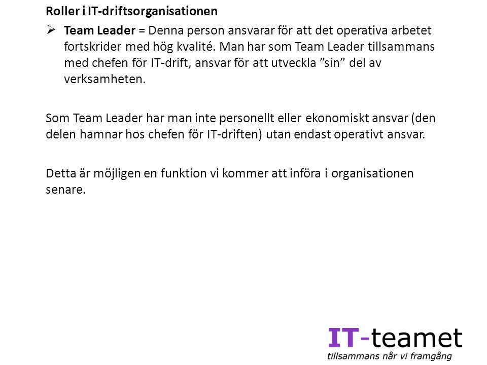 Roller i IT-driftsorganisationen  Team Leader = Denna person ansvarar för att det operativa arbetet fortskrider med hög kvalité. Man har som Team Lea
