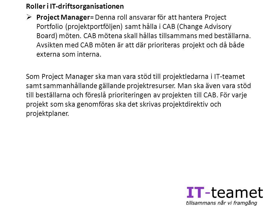 Roller i IT-driftsorganisationen  Project Manager= Denna roll ansvarar för att hantera Project Portfolio (projektportföljen) samt hålla i CAB (Change