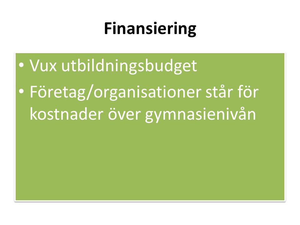 Finansiering • Vux utbildningsbudget • Företag/organisationer står för kostnader över gymnasienivån • Vux utbildningsbudget • Företag/organisationer står för kostnader över gymnasienivån