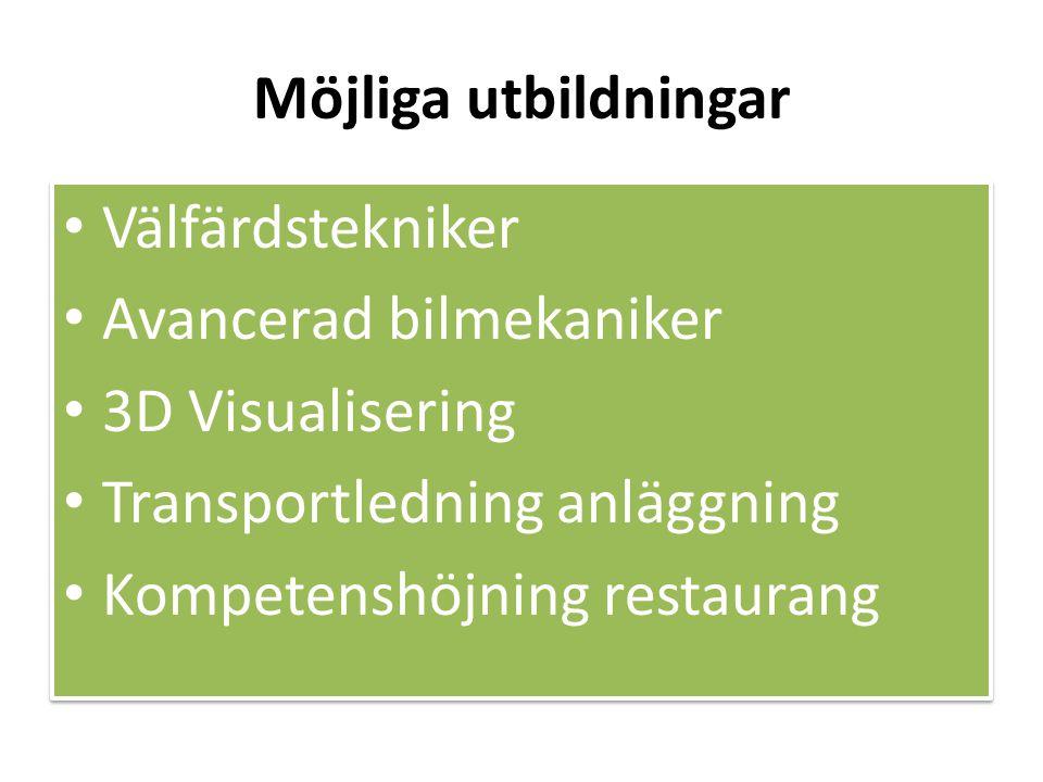 Möjliga utbildningar • Välfärdstekniker • Avancerad bilmekaniker • 3D Visualisering • Transportledning anläggning • Kompetenshöjning restaurang • Välfärdstekniker • Avancerad bilmekaniker • 3D Visualisering • Transportledning anläggning • Kompetenshöjning restaurang