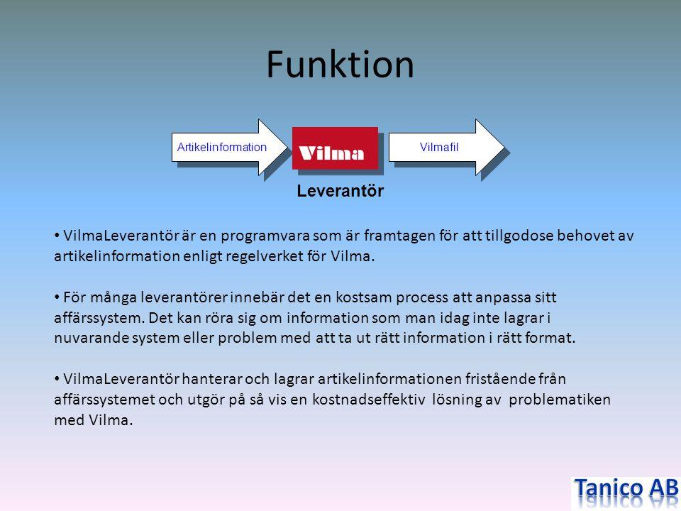 Funktion Vilmafil Artikelinformation • VilmaLeverantör är en programvara som är framtagen för att tillgodose behovet av artikelinformation enligt rege