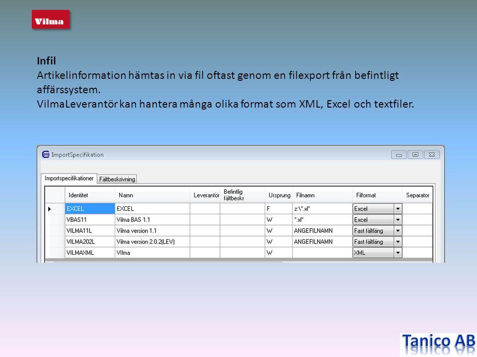 Infil Artikelinformation hämtas in via fil oftast genom en filexport från befintligt affärssystem. VilmaLeverantör kan hantera många olika format som