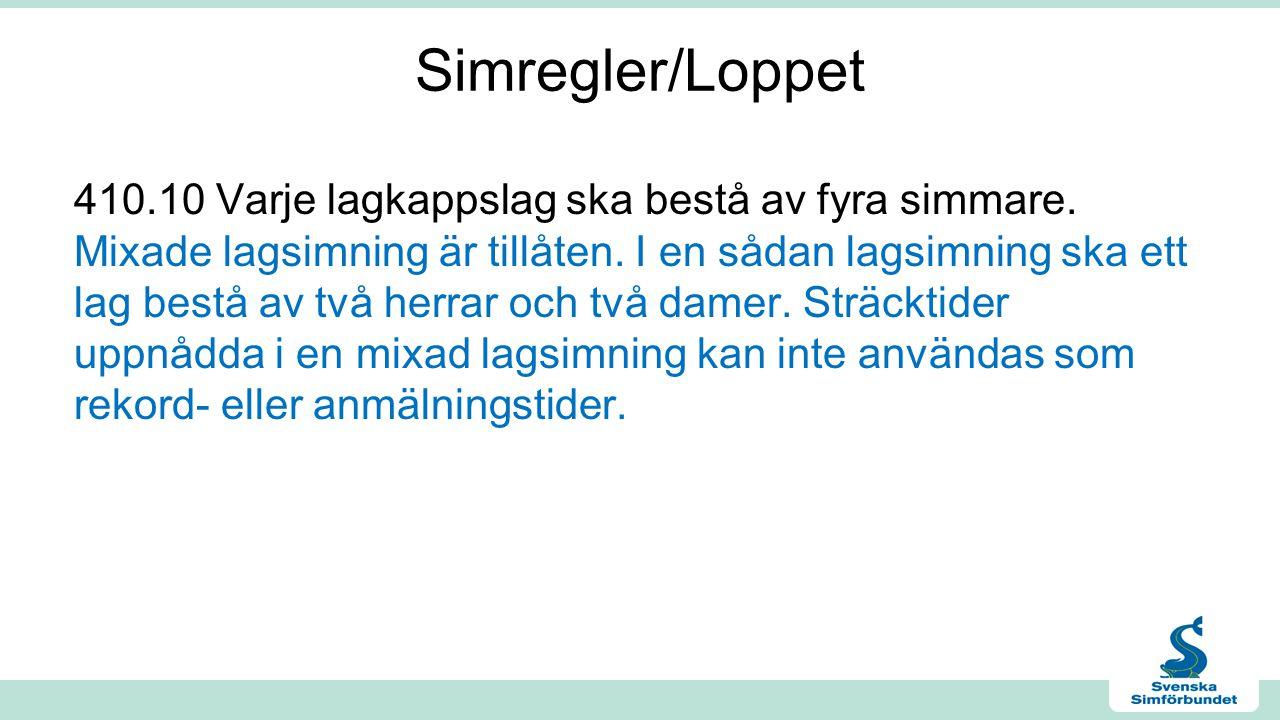 Simregler/Loppet 410.10 Varje lagkappslag ska bestå av fyra simmare.