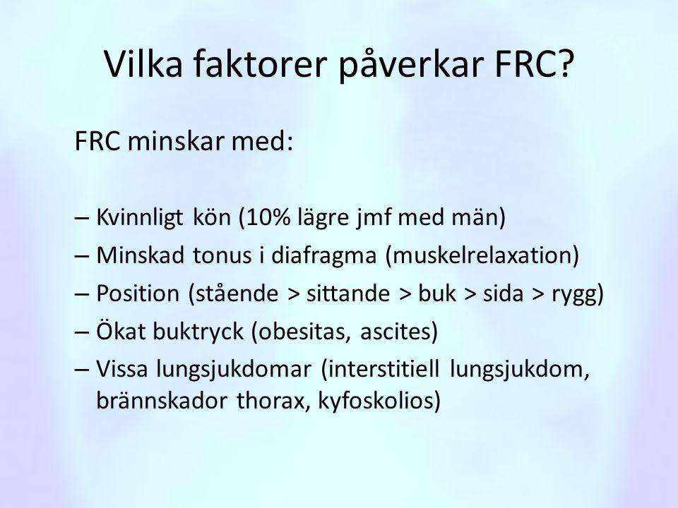 Vilka faktorer påverkar FRC? FRC minskar med: – Kvinnligt kön (10% lägre jmf med män) – Minskad tonus i diafragma (muskelrelaxation) – Position (ståen