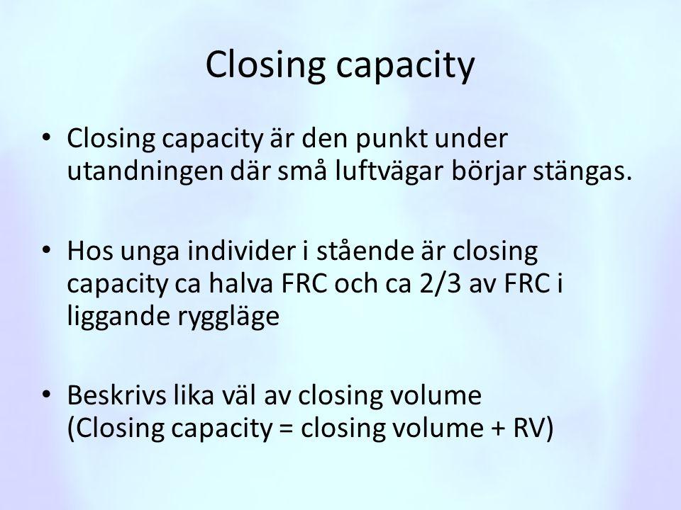 Closing capacity • Closing capacity är den punkt under utandningen där små luftvägar börjar stängas. • Hos unga individer i stående är closing capacit