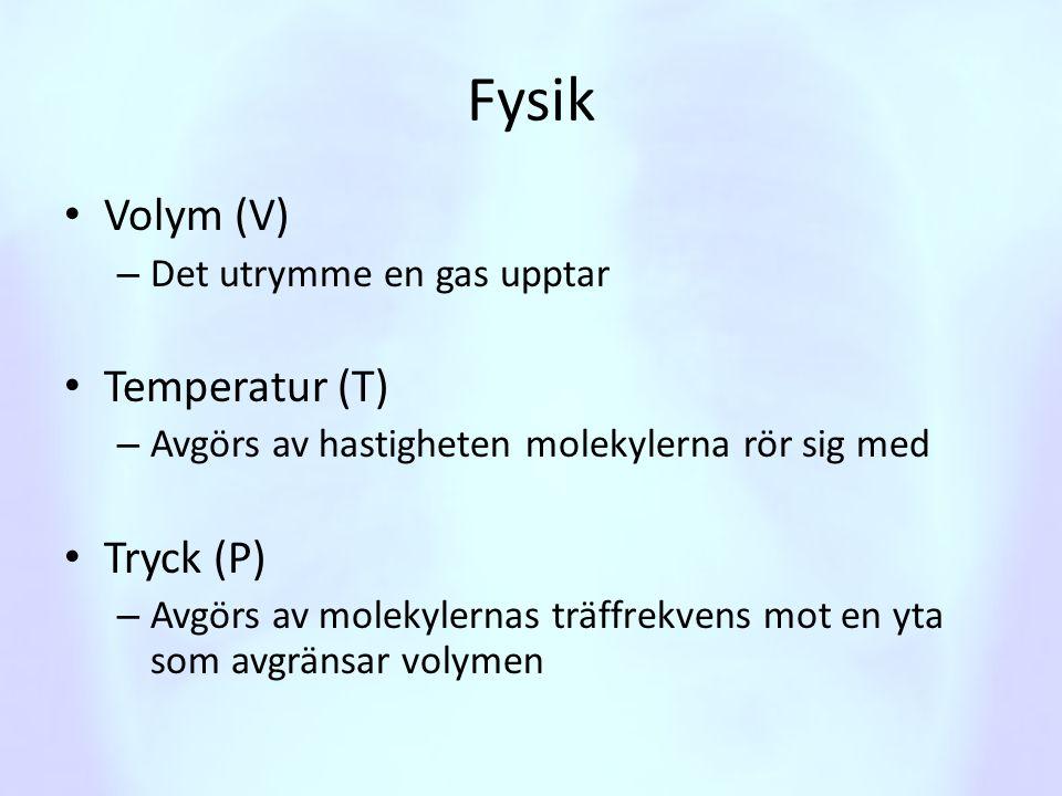 Fysik • Volym (V) – Det utrymme en gas upptar • Temperatur (T) – Avgörs av hastigheten molekylerna rör sig med • Tryck (P) – Avgörs av molekylernas tr